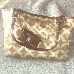 Large light brown coach purse